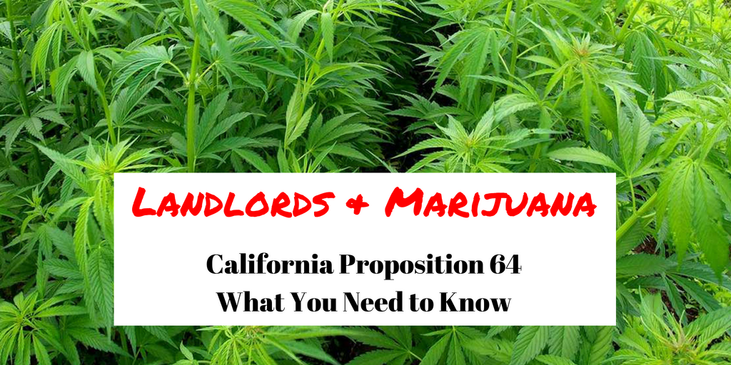 Landlords & Marijuana: California Prop 64 – What You Need To Know